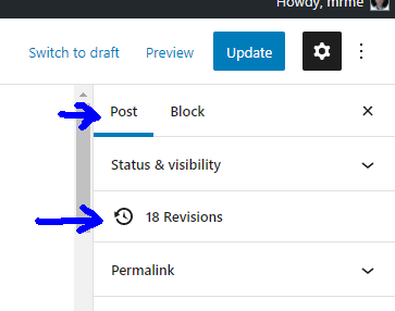 The x revisions (were x is the number of revisions) defaults to being positioned as the 2nd item under the post settings