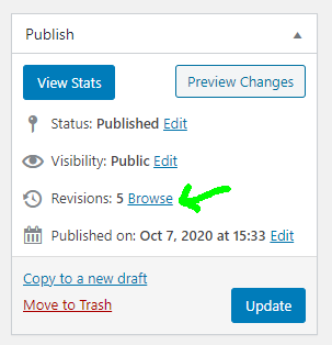 The link to see the revision history is in the publish metabox were you go to publish/update posts