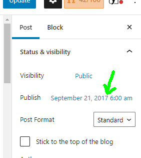 The date is located under status and visibility in the post settings