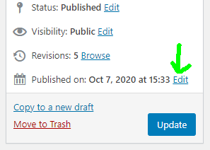 The link to edit the date is in the same metabox that you go to when publishing/updating posts